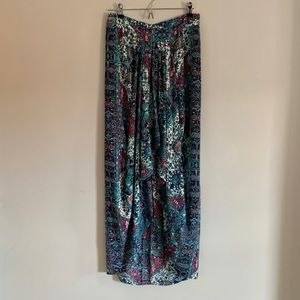 High-Low Aztec Print Skirt